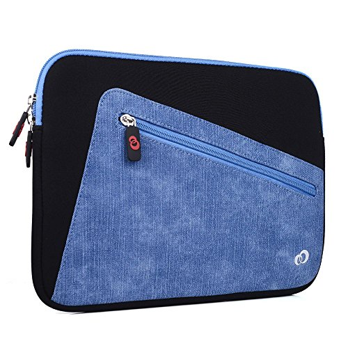 NuVur Top Loading Neoprene Sleeve with Front Accessory Pocket for Slim 11 Inch Laptop, Notebook, Tablet, 2-in-1 | Blue and Black (Black Loading Top Neoprene Notebook)