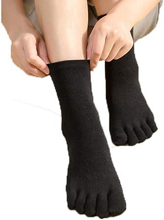 HYZ Mujer Cinco Dedos Chica de Las Medias de algodón Tubo de Color sólido Medias del