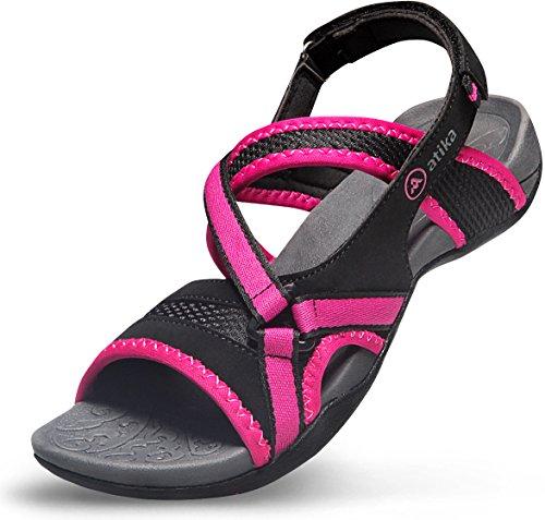 ATIKA Women's Maya Trail Outdoor Water Shoes Sport Sandals, Zero Edel(w106) - Black & Pink, 8 Black Polyurethane Sandal Shoe