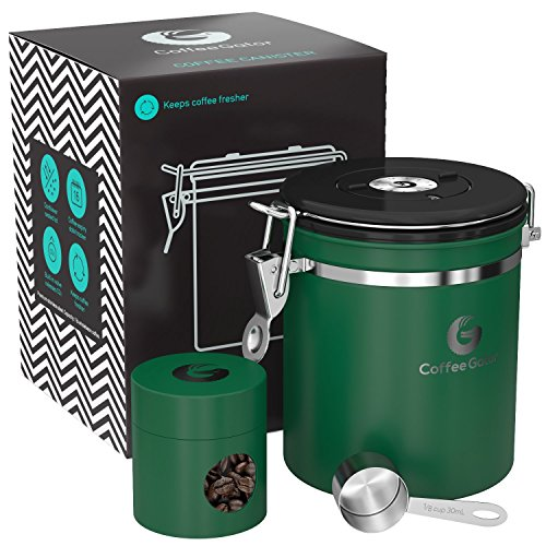 Coffee Gator Stainless Steel Container - Canister with Travel Jar, co2 Valve and Scoop - Medium, (Green Canister)