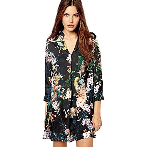 Black Blouse Shirt Dresses Flowers Print High Quality V-036