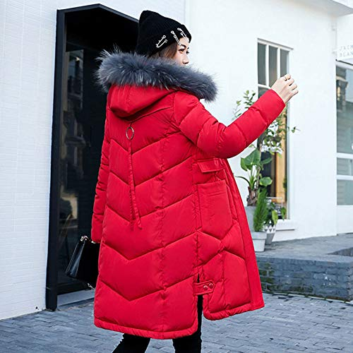 Caldo Cappotto Parka Donna Elegante In Fur Collo Grigio Lserver Lungo Faus Color Cotone Capispalla Invernale v0aqtHvg