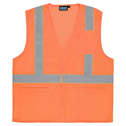 Lightweight Economy Safety Vest - ERB 61639 S362P Class 2 Economy Mesh Safety Vest with Pockets, Orange, Large
