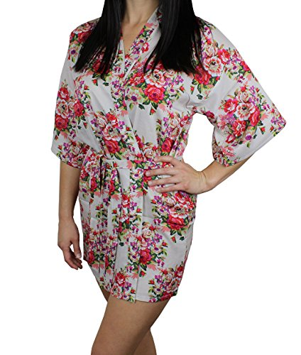 - Ms Lovely Women's Cotton Floral Pattern Lounge Robe - Ivory XS/S