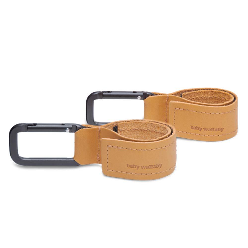 2er Pack Karabinerhaken f/ür Handtaschen Taschenhalter f/ür Kinderwagen Baby Wallaby Kinderwagen Haken aus Leder Universelle Passform