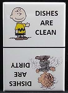 Clean / Dirty Pigpen & Charlie Brown - Dishwasher Magnet. Peanuts (Pigpen / Charlie Brown - White)