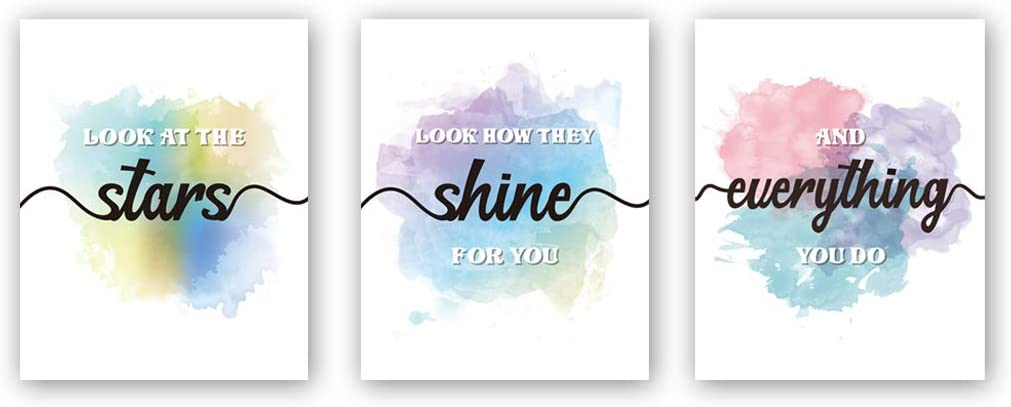 """HPNIUB Inspirational Quotes Art Prints, Set of 3 (8""""X10""""), Look at The Stars Motivational Saying Canvas Posters,Watercolor Splash&Splatter Painting for Couple Kids Bedroom Living Room Decor,No Frames"""