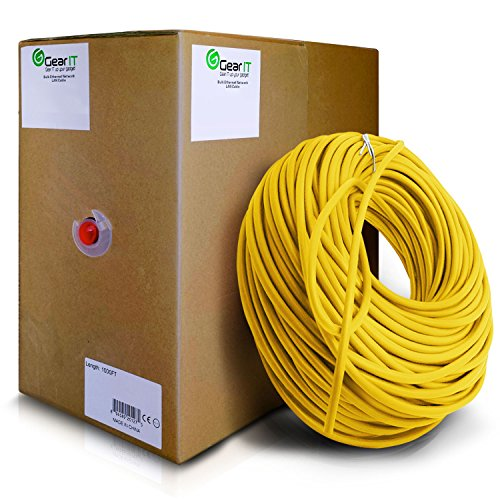 GearIT Cat5e Ethernet Cable Bulk 1000 Feet - Cat 5e 350Mhz 24AWG Full Copper Wire UTP Pull Box - In-Wall Rated (CM) Stranded Cat5e, Yellow by GearIT