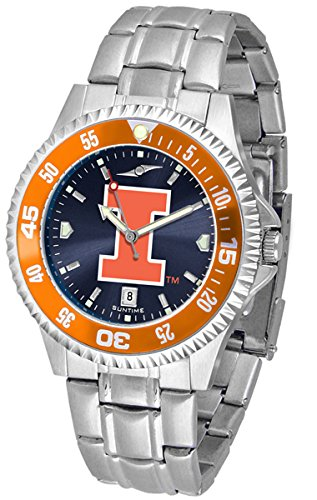 Competitor Steel Anochrome Watch - Illinois Fighting Illini Competitor Steel AnoChrome Color Bezel Men's Watch