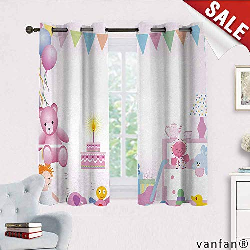 LQQBSTORAGE Kids Birthday,Curtains Insulated Thermal,Baby Girl Birthday Celebration Party with Flags and Bears Cute Toys Print,Curtains Kitchen Valance,Light Pink