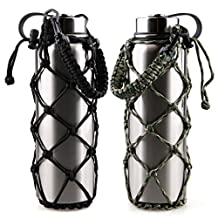 RoryTory 2Pc Set Paracord Water Bottle Carrier Holder Emergency Net Sleeve (Fits 18 to 40oz Hydro Flask, Nalgene, Contigo, etc.) Great for Metal Or Plastic Bottles - Solid Black/Green Camouflage