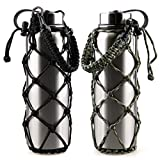 RoryTory 2Pc Set Paracord Water Bottle Holder Carrier Emergency Net Sleeve (for Hydro Flask, Nalgene, Contigo, etc. - 18 to 40oz) Great for Metal or Plastic Bottles - Solid Black/Green Camouflage