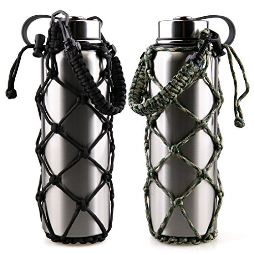 RoryTory 2Pc Set Paracord Water Bottle Holder Carrier Emergency Net Sleeve (for Hydro Flask, Nalgene, Contigo, etc. - 18 to 40oz) Great for Metal or Plastic Bottles - Solid Black/Green Camouflage (Nets Water Bottle)