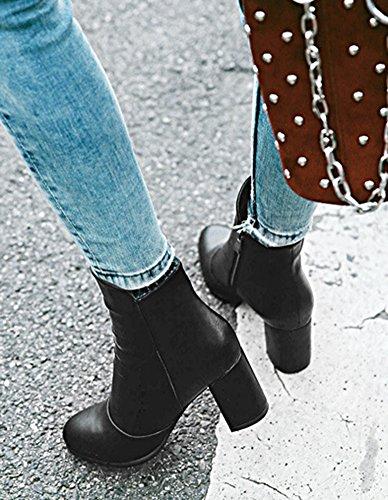 Aisun Womens Trendy Chic Amandel Teen Binnen Zip-up Booties Half Stevige Hak Enkellaarsjes Met Rits Zwart