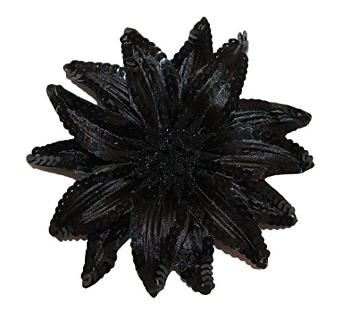 Sequin Flowers Brooch (WD2U Girl XL Sequin Flower Hair Bows Alligator Clip Brooch Pin Black 1066)