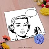 VROSELV Custom Cotton Microfiber Ultra Soft Hand Towel-pop art woman holding a mirror Custom pattern of household products(14''x14'')