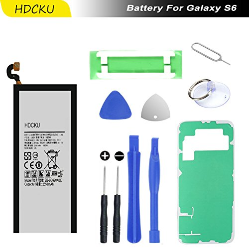 HDCKU Samsung Galaxy S6 Battery Replacement Kit for Galaxy S6 G920A G920P G920T G920V EB-BG920ABE With Battery Adhesive,Back Cover Adhesive,Repair Tools(24 Month Warranty) (Tools Verizon Phone)