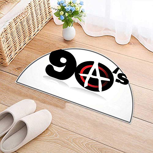 Semicircle Rug Kid Carpet Collection, Nineties Revolution Energy Strength Fight Modern Times Victory Symbolic Art, Black Home Decor Foor Carpe W24 x H16 INCH