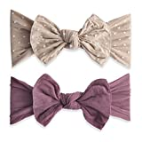 Baby Bling 2 Pack: Shabby Dot and Classic Knot Girls Baby Headbands - Taupe Dot/Lilac