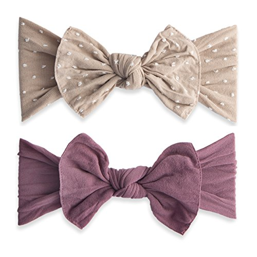Baby Bling Bow 2 Pack: Shabby Dot and Classic Knot Girls Baby Headbands - MADE IN USA - Taupe Dot/Lilac (Bling Bow)