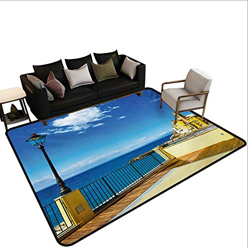 (Decorative Floor mat,Camogli Building Sea Lamp and Balcony Tourist Spot in Ligury Italy Print 6'x9',Can be Used for Floor Decoration)