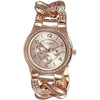 """Akribos XXIV """"AK558RG"""" Reloj de cadena trenzado con adornos de cuarzo, multifunción, de cuarzo en color rosa dorado"""