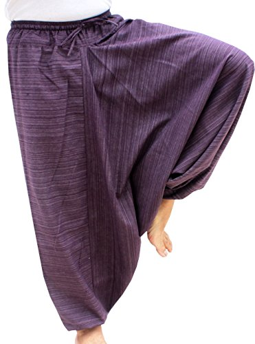 RaanPahMuang Striped Cotton Elastic Pullstring Waist Baggy Mao Pants, Small, Byzantium Violet