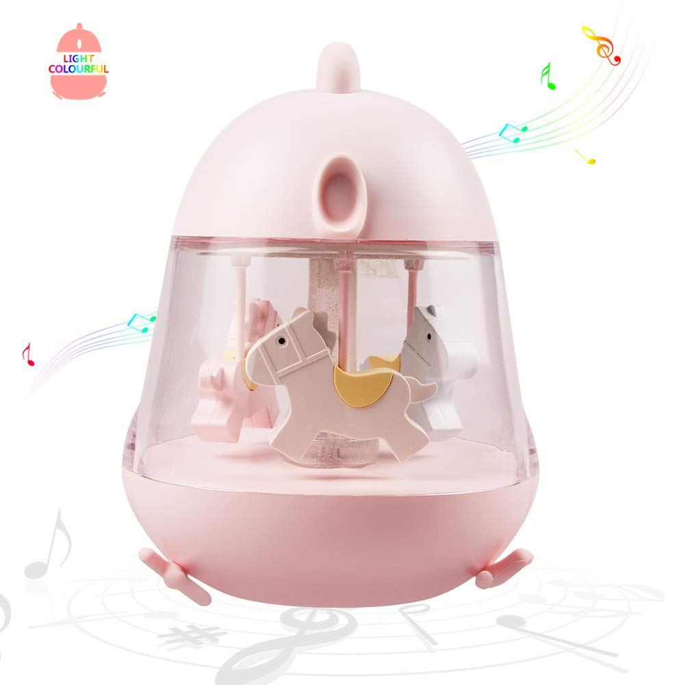 WHATOOK Carousel Music Box Light Rotate Unicorn Night Lamp with Timer&Touch Switch Rainbow Musical Toys Gifts for Kids,Girls(Pink Carousel)