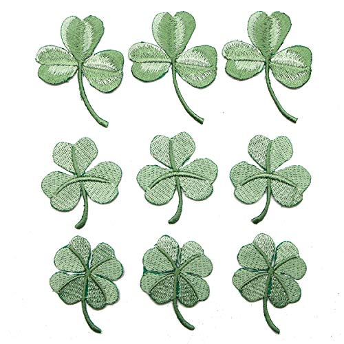 JETEHO 9pcs Irish 3-Leaf&4-Leaf Clover Patch Green Embroidered Lucky Shamrock Iron On/Sew On Ireland Patch