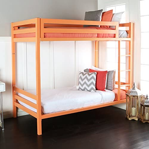WE Furniture Premium Twin Metal Bunk Bed, Coral
