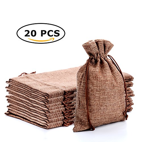 CARANFIER Burlap Bags with Jute Drawstring for Holiday Party Birthday Wedding Gift Jewelry Treat DIY Craft Favor Bags Sack Pouch, Lot of 20 (7*5.2, Dark brown)