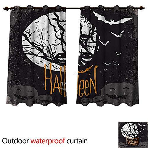 cobeDecor Vintage Halloween Outdoor Curtain for Patio Full Moon Trees W84 x L72(214cm x -