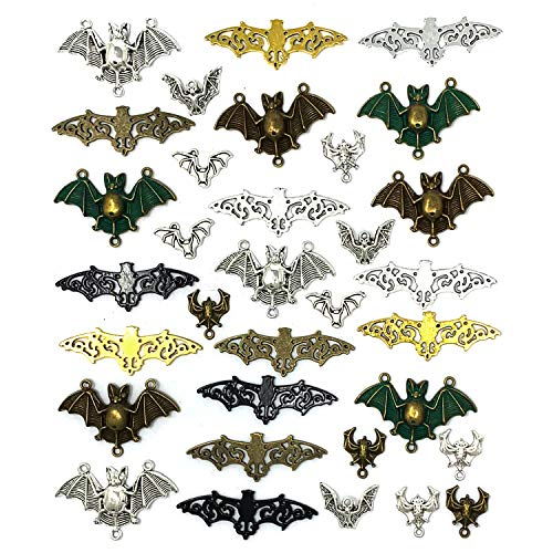 (33PCS Bat Charms - JIALEEY Mixed Halloween Spooky Flittermouse Flying Vampire Bat Connector Charms Pendants DIY for Jewelry Making)
