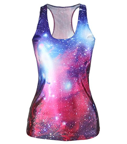 [Longwu Sexy Women's Digital Printed Sleeveless Summer Tank Tops Interstellar Red] (Celebrities To Dress Up As)