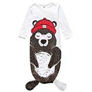 Newborn Baby 3D Cartoon Bear Sleep Gown Night Robe Coming Home Outfit (0-12Months/S, White)