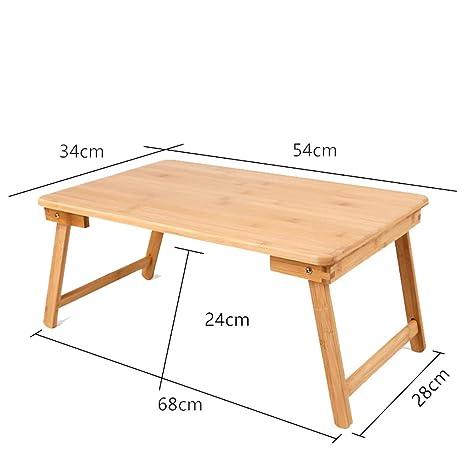 LZ Escritorio portátil de bambú, Mesa de Desayuno Plegable ...