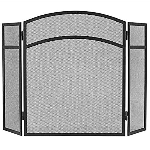 "Oli & Birch USA Small Fireplace Screen 3 Panel - Modest-Design Decorative Fireplace Screens Black Mesh - Quality Sturdy 24"" H x 38"" W Fireplace Gate - Flat Folding Compact Baby and Pet Safety Guard"