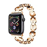 Crystal Wristbands Watch Band Compatible for Apple iWatch Series 4 40mm, Alloy Replacement Watch Band Wristband Strap 5 Style Available (Series 4 40mm Rose Gold)