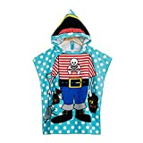 VSTON Kids Beach Hooded Towel for Bath, Swimming, Beach Holiday Soft, Lightweight Boys Girls Towel (Pirate King)