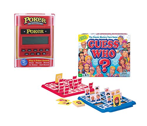 Mozlly Value Pack - 5 in 1 Poker Red Handheld Game - Play Draw, Deuces, 2x Bonus & 2x2 Bonus AND Classic Guess Who - Family Board Game (2 items) - Item #K119024-119028