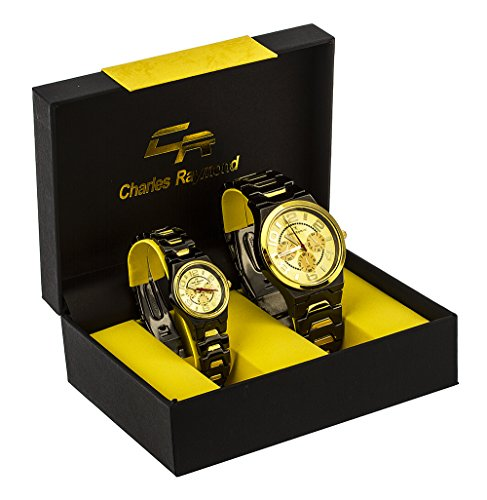 """Charles Raymond """"Big Digit Chronograph Look"""" His and Hers Watch Set with Hematite and Goldtone Metal Band & Goldtone Face"""