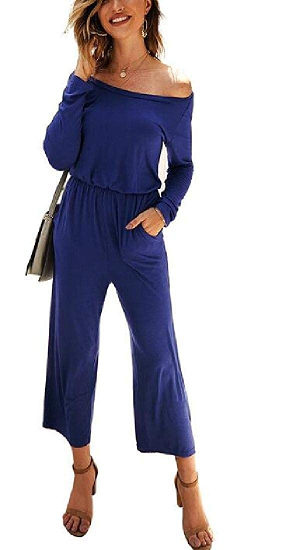 Abeaicoc Womens Long Pants Long Sleeve Casual Wide Leg Jumpsuit Romper