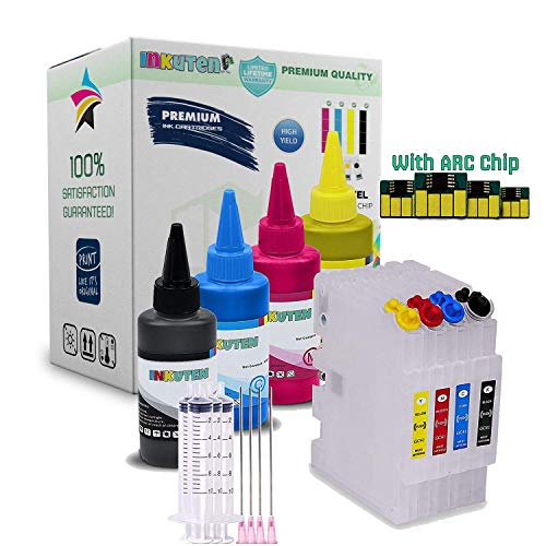- INKUTEN 4 SAWGRASS SG400 SG800 SG400NA SG800NA Refillable Cartridges with 4x100ml Sublimation Ink and Auto Reset Chips (for Sublimation Ink, Heat Transfer Printing)
