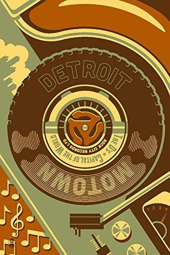 Detroit, Michigan - Motown and Motor City (9x12 Art Print, Wall Decor Travel Poster)
