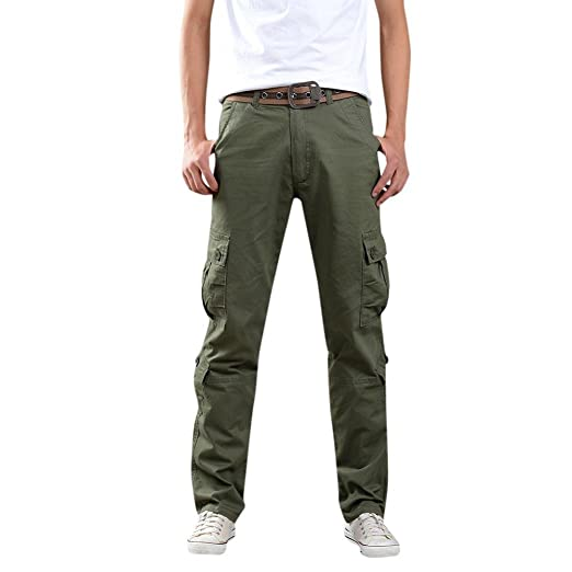 6c56f36b54 vermers Clearance Sale Cargo Pants for Men Army Trousers Multi-pocket Combat  Zipper Waist Work