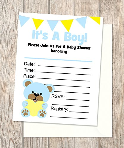 In Blank Invitations, Flat Cards Set Of 20, Boy Teddy Bear Baby Shower Invitations With Envelopes, Flat Card Invitations, 4.25