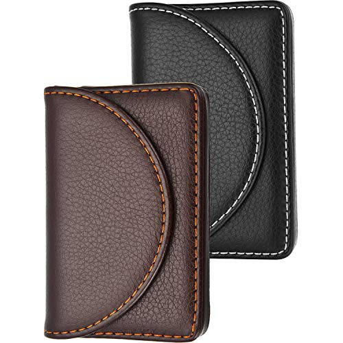 Blulu 2 Pieces PU Leather Business Card Cases Card Holder Wallet Name Card Case with Magnetic Shut for Men and Women (Coffee and Black)