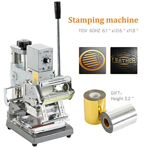 Hot Foil Stamping Machines - SUNCOO Hot Foil Stamping Machine 2.4'' x 3.5'' Bronzing Machine Leather Embossing Machine Printing Logo for PVC Card, Credit Card, Leather, Plastic with Foil Paper