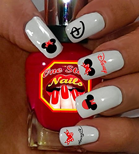 Minnie Mouse Bow Nail Art Decals. Tattoo Nail Decal Set of 54 by One Stop -