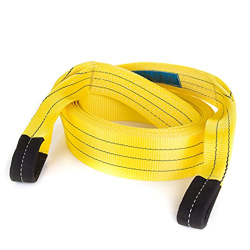 Tow Recovery Vehicle Strap 30' х 3.5'' 30000 Lbs (15 US TON)   Emergency Off-Road Towing Rope for Recovery   Heavy Duty Strap with Reinforced Loops   Suitable for Shackle Hitch, D-rings, Snatch Block by STANKO